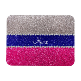 Personalized name silver hot pink glitter flexible magnets