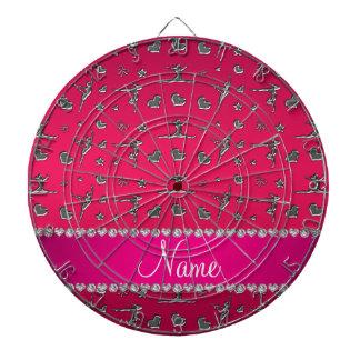 Personalized name silver magenta pink gymnastics dart board
