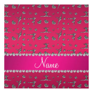 Personalized name silver magenta pink gymnastics panel wall art