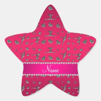 Personalized name silver magenta pink gymnastics star sticker