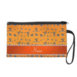 Personalized name silver orange gymnastics wristlet purses