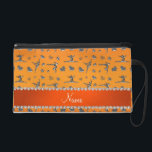 "Personalized name silver orange gymnastics wristlet purse<br><div class=""desc"">Modern, girly, chic and trendy Custom name orange silver (not real silver) gymnastics pattern with gymnast silhouettes stars, hearts and ribbon bows background and with pretty orange diamonds (faux not real diamonds) with sparkly hearts and dots stripe personalized with just add your name gifts or monogram gifts or your initials...</div>"