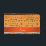 """Personalized name silver orange gymnastics wristlet purse<br><div class=""""desc"""">Modern, girly, chic and trendy Custom name orange silver (not real silver) gymnastics pattern with gymnast silhouettes stars, hearts and ribbon bows background and with pretty orange diamonds (faux not real diamonds) with sparkly hearts and dots stripe personalized with just add your name gifts or monogram gifts or your initials...</div>"""