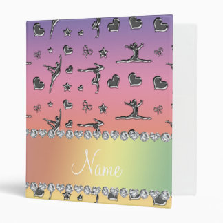 Personalized name silver pastel rainbow gymnastics binder