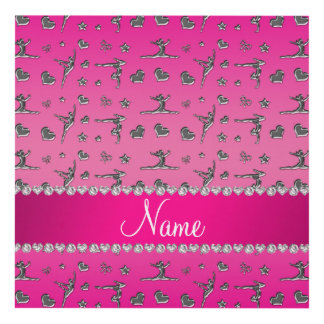 Personalized name silver pink gymnastics panel wall art
