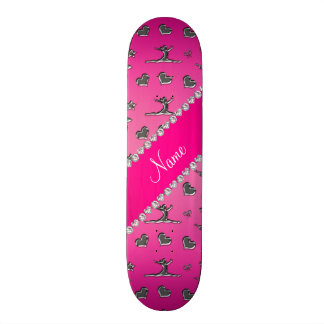 Personalized name silver pink gymnastics skate board