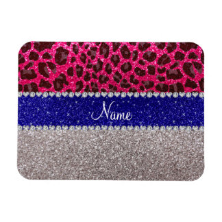 Personalized name silver pink leopard glitter rectangular magnet
