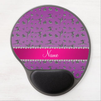 Personalized name silver purple gymnastics gel mouse mat