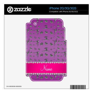 Personalized name silver purple gymnastics iPhone 3GS skin