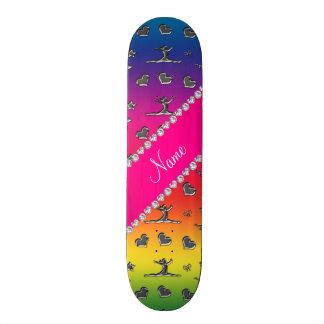 Personalized name silver rainbow gymnastics skate deck