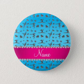 Personalized name silver sky blue gymnastics pinback button