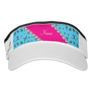 Personalized name silver sky blue gymnastics headsweats visor