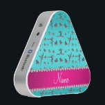 """Personalized name silver turquoise gymnastics bluetooth speaker<br><div class=""""desc"""">Modern, girly, chic and trendy Custom name turquoise silver (not real silver) gymnastics pattern with gymnast silhouettes stars, hearts and ribbon bows background and with pretty pink diamonds (faux not real diamonds) with sparkly hearts and dots stripe personalized with just add your name gifts or monogram gifts or your initials...</div>"""