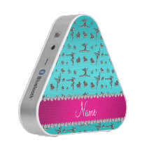 Personalized name silver turquoise gymnastics bluetooth speaker