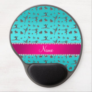 Personalized name silver turquoise gymnastics gel mousepads