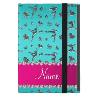 Personalized name silver turquoise gymnastics iPad mini case