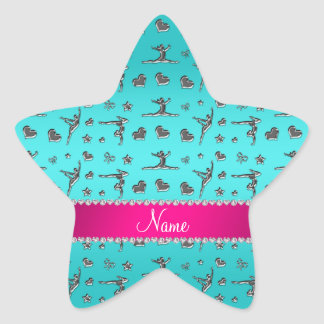 Personalized name silver turquoise gymnastics star sticker