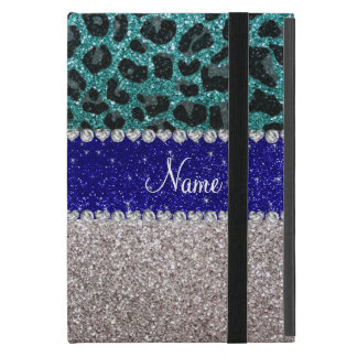 Personalized name silver turquoise leopard glitter iPad mini cases