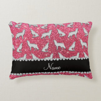 Personalized name silver wolf fuchsia pink glitter accent pillow