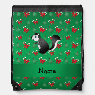 Personalized name skunk green candy canes bows drawstring backpack