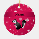 Personalized name skunk pink snowflakes christmas ornament