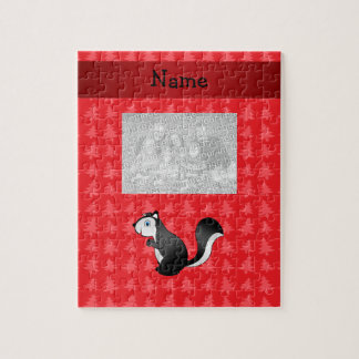 Personalized name skunk red christmas trees jigsaw puzzles