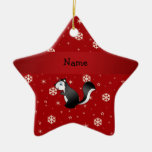 Personalized name skunk red snowflakes christmas ornament