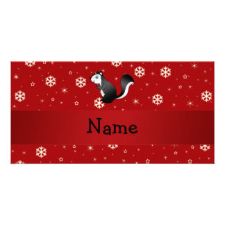 Personalized name skunk red snowflakes photo cards