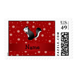 Personalized name skunk red snowflakes postage stamp