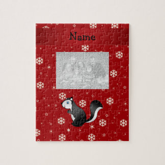 Personalized name skunk red snowflakes puzzle
