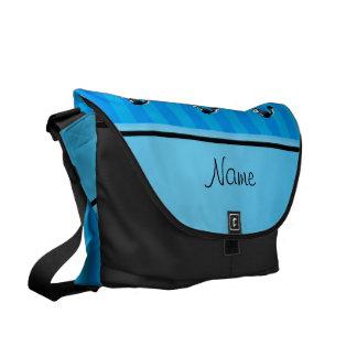 Personalized name skunk sky blue stripes messenger bag