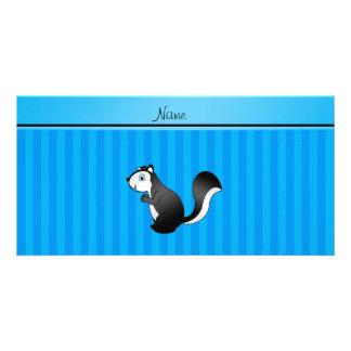 Personalized name skunk sky blue stripes custom photo card