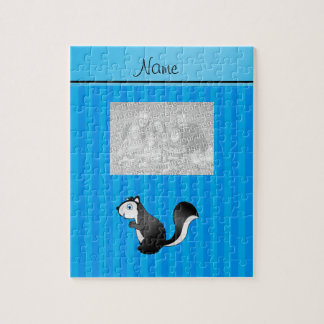 Personalized name skunk sky blue stripes jigsaw puzzles