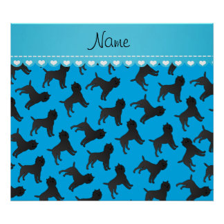 Personalized name sky blue affenpinscher dogs poster
