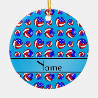 Personalized name sky blue american volleyballs ceramic ornament