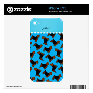 Personalized name sky blue australian terrier dogs decals for the iPhone 4
