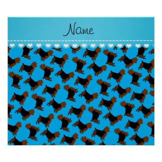 Personalized name sky blue australian terrier dogs poster