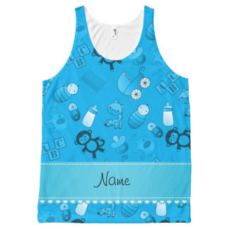 Personalized name sky blue baby animals All-Over print tank top