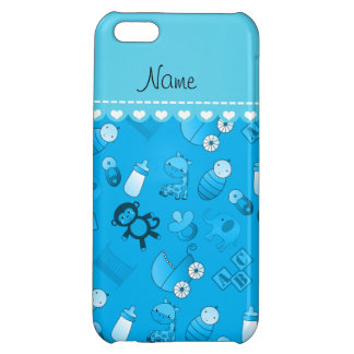 Personalized name sky blue baby animals iPhone 5C case
