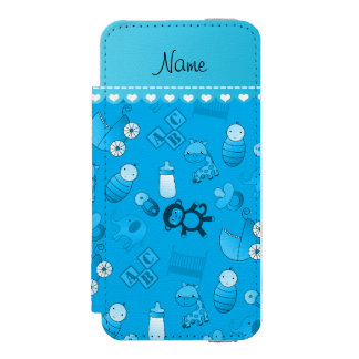 Personalized name sky blue baby animals iPhone SE/5/5s wallet case