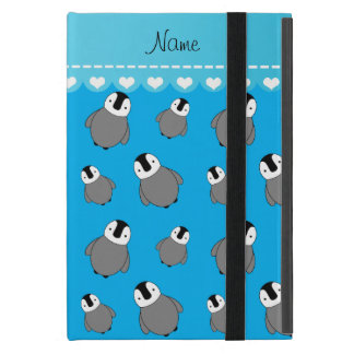Personalized name sky blue baby penguins iPad mini cover