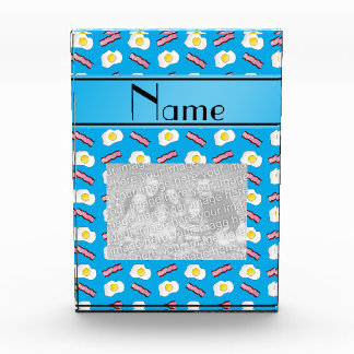 Personalized name sky blue bacon eggs award