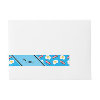 Personalized name sky blue bacon eggs wrap around address label