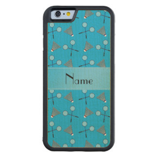 Personalized name sky blue badminton carved® maple iPhone 6 bumper