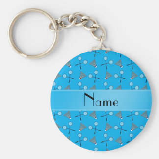 Personalized name sky blue badminton pattern basic round button keychain