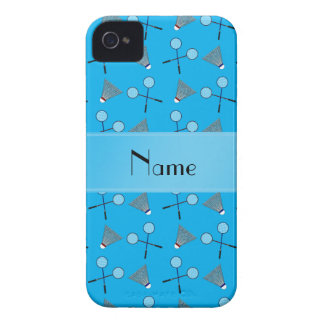 Personalized name sky blue badminton pattern iPhone 4 Case-Mate cases