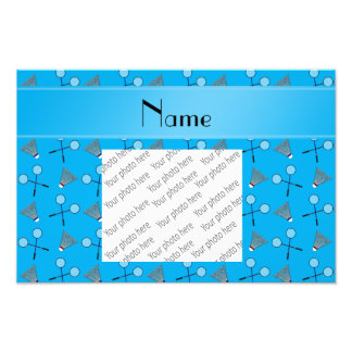 Personalized name sky blue badminton pattern photographic print