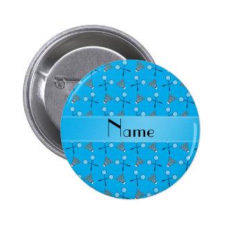 Personalized name sky blue badminton pattern pinback button