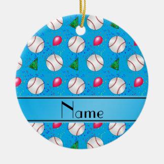 Personalized name sky blue baseball birthday ceramic ornament