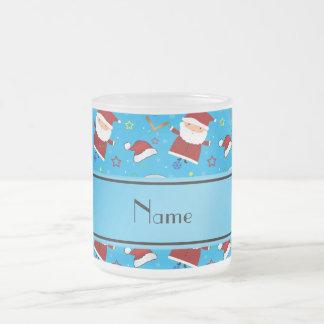 Personalized name sky blue baseball christmas 10 oz frosted glass coffee mug